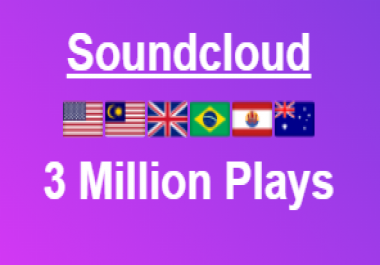 3 Million Soundcloud High Retention Plays + 500 Likes + 300 Repost