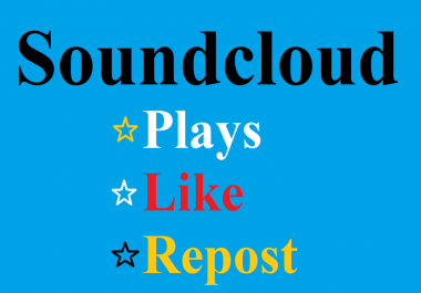 5000 Soundcloud plays and 100 Like +100 Repost Super Fast Delivery within 24 hours