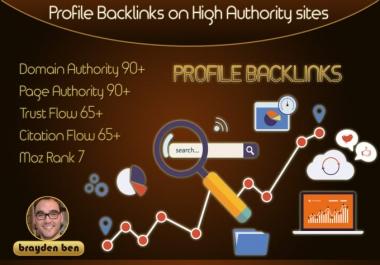 30 Profile backlinks on DA 80+ high quality sites
