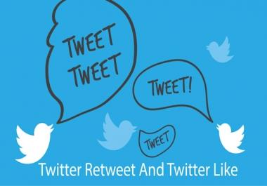300 Twitter Like and 300 Twitter Retweetts