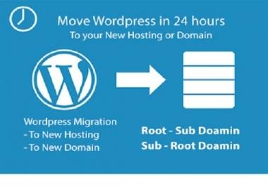 migrate or transfer wordpress website to new hosting