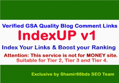 IndexUP v1 - 2,000 Verified GSA Quality Blog Comment Links
