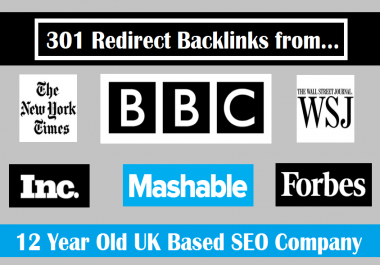 Provide a 301 redirect backlink from Forbes, Nytimes, BBC