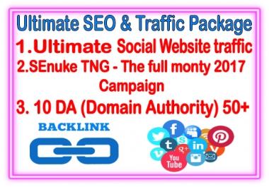 White hat SEO & Traffic Package-  SEnuke TNG- The Full monty- 10 DA backlinks - Unlimited Social website Traffic