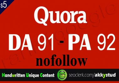 "I will publish unique guest post on ""Quora"" DA-91"