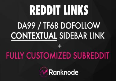 DA99/TF68 Contextual DoFollow Reddit Link + Custom Subreddit!