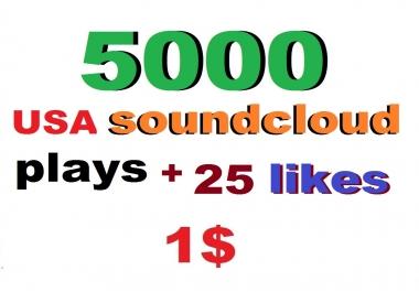 instant 5000 soundcloud p/lays and 25 favorites