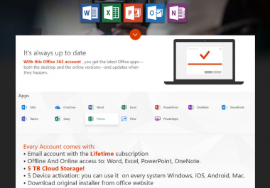 Office 365 (includes OneDrive with 5TB Storage) Accounts LIFETIME Subscription