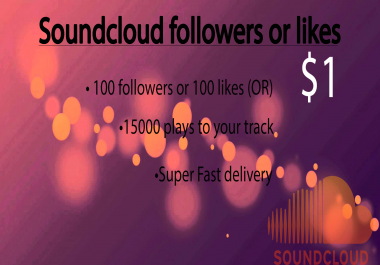 Add 100 Soundcoud followers or 100 likes or 15000 pla... for $1