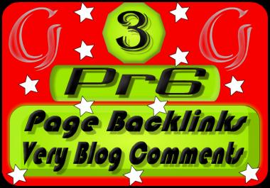 Creat Actual 3 PR6 Page Backlink Blog Comments