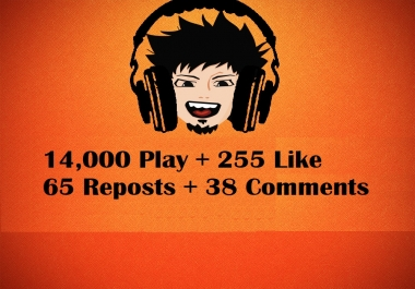 Music promotion 14,000 play + 255 Like + 65 Repost + 38 Comment