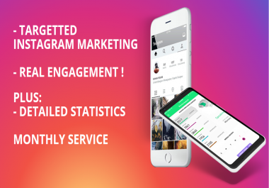 Targetted Instagram Marketing + Detailed statistics / monthly service