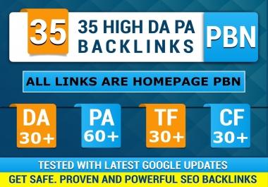 35 High DA30+ PA60+  CF30+ TF30+ PBN Backlinks