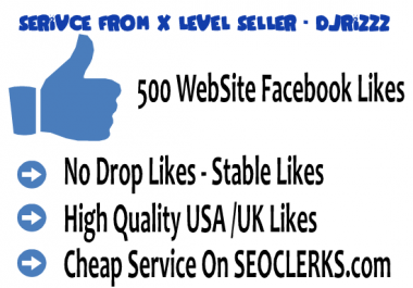 Give 500 High Quality USA Facebook Website Likes (No Fan... for $1