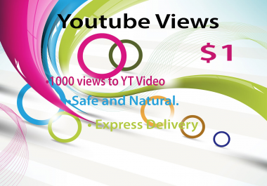 give you 1000+ YouTube Views REAL Human  for $1