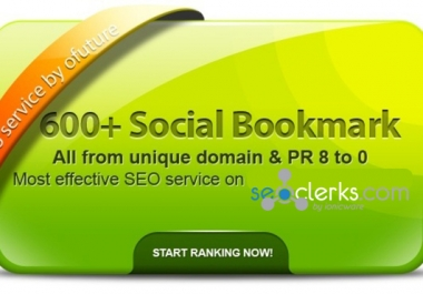 provide 600+ BEST Social Bookmarking PR 8 to 0 ✺ Al... for $5