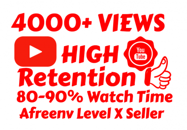Super Fast 4000+ High Quality Youtube views