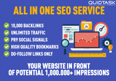 All In One - 1000 Backlinks, UNLIMITED Traffic, Social Signals, High Quality Bookmarks - Do-Follow Links - 16,380+ orders completed