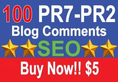 100 PR7 Dofollow Blog Comments