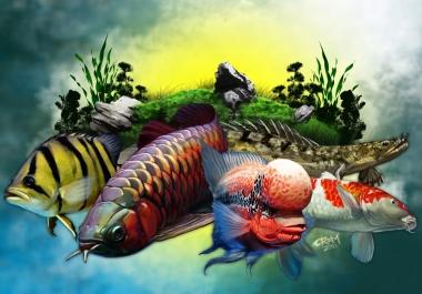 DeviantArt graphic designers to draw aquatic fishes