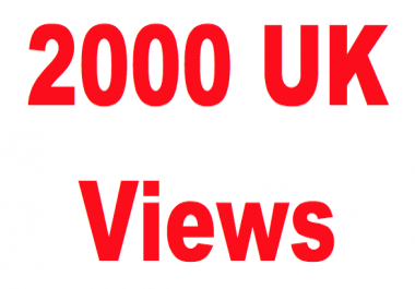 UK Youtube Views,  2000+ views