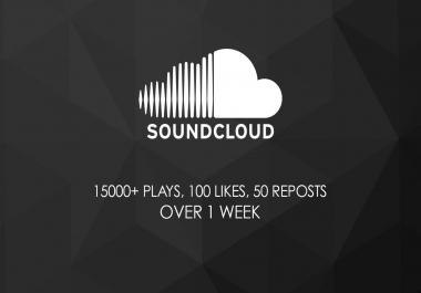 15000+ Plays,  100 likes,  50 reposts on Soundcloud track - over a week