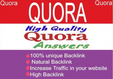 I need 15 High Quality Quora answers with backlink for 3