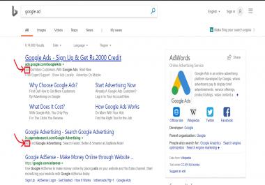 Advertisement on google/bing/yahoo