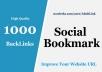 1000 HQ Social Bookmarks Backlinks for your Website