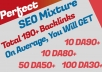 DA90+Backlinks - 5 Pdf 7 Edu 20 Wiki 50 Bookmarking 50 Web Profile 50 S Network SEO