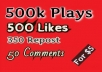 Buy 500,000 Audio Music Play, Non Drop 500 Iikes-350 Rep0st and 50 Comments