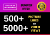 Provide Instant 500+ High Quality Likes OR 5000 Views