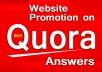 Fast promotion your website on Quora Answers with live URL