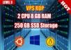 VPS RDP WINDOWS UNLIMITED BW 2 CORE 8GB RAM 250GB SSD FULL ADMIN