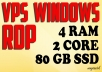 VPS RDP Windows 4 GB RAM 2 CPUs 80 GB SSD