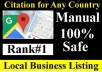 Manual 50 Google Maps citation for local SEO,business listing,directory submission