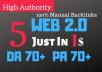 5 Web 2.0 BackLinks 70+ DA 70+ PA