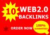 Build 10 High Quality Web2.0 Blogs high DA 30+ Top service