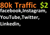 80,000 boost website real targeted web traffic facebook,instagram, youtube, twitter, linkedin