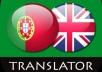 Amazing native language translator of 600-800 words from PORTUGUESE <=> ENGLISH