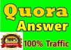 Get manually HQ 10 Quora answer & backlink