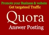 Promote your website in 15 HQ Quora Answer with link