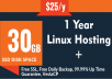 1 Year Cloud VPS Linux Hosting 30GB SSD