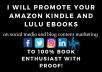 I'll Promote Your Amazon Kindle And Lulu Ebooks