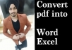 Convert pdf or jpg file into Word or Excel