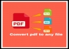 I will convert pdf to word,excel,PowerPoint