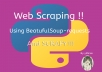 web scraping using beautifulsoup and scrapy