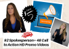 92 + 48 Bonus Niches Call to Action Spokesperson HD Promo Videos