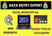 I will do fast data entry, excel data cleaning