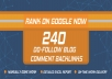 Create 240 blog comments backlinks on actual page